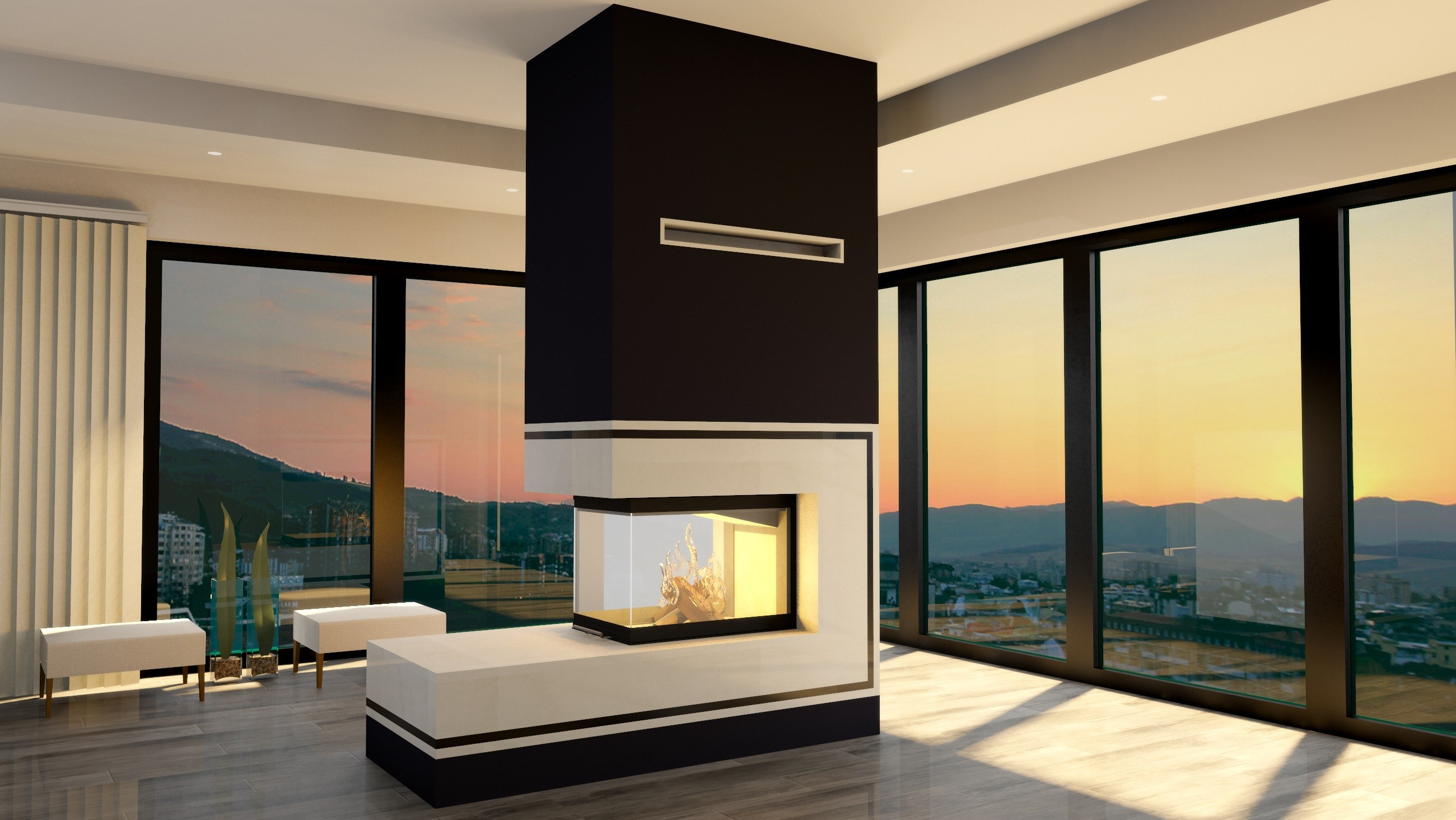 eleganckie kominki nowoczesne hajduk. Black Bedroom Furniture Sets. Home Design Ideas
