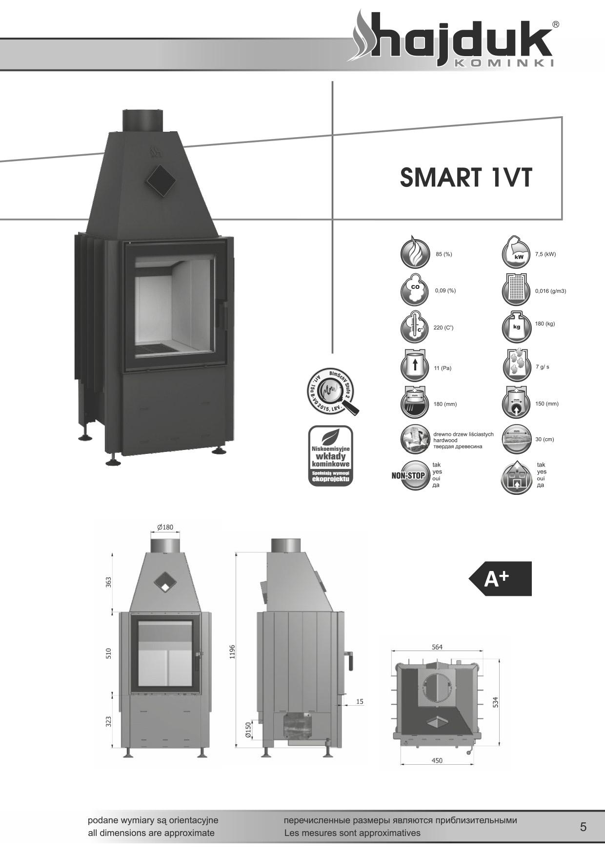 Smart%201VT%20 %20karta%20techniczna - Fireplace insert Hajduk Smart 1VT