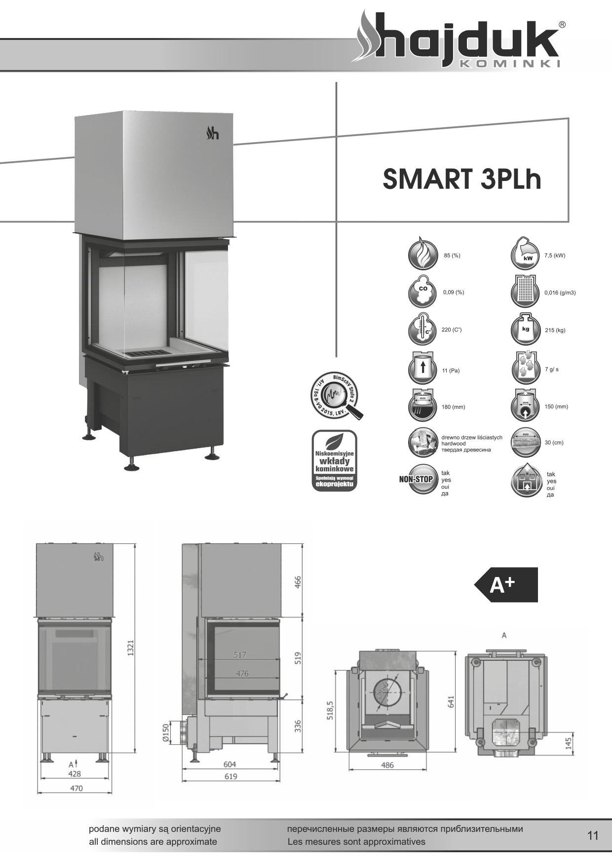 Smart%203PLh%20 %20karta%20techniczna - Fireplace insert Hajduk Smart 3PLh black chamotte