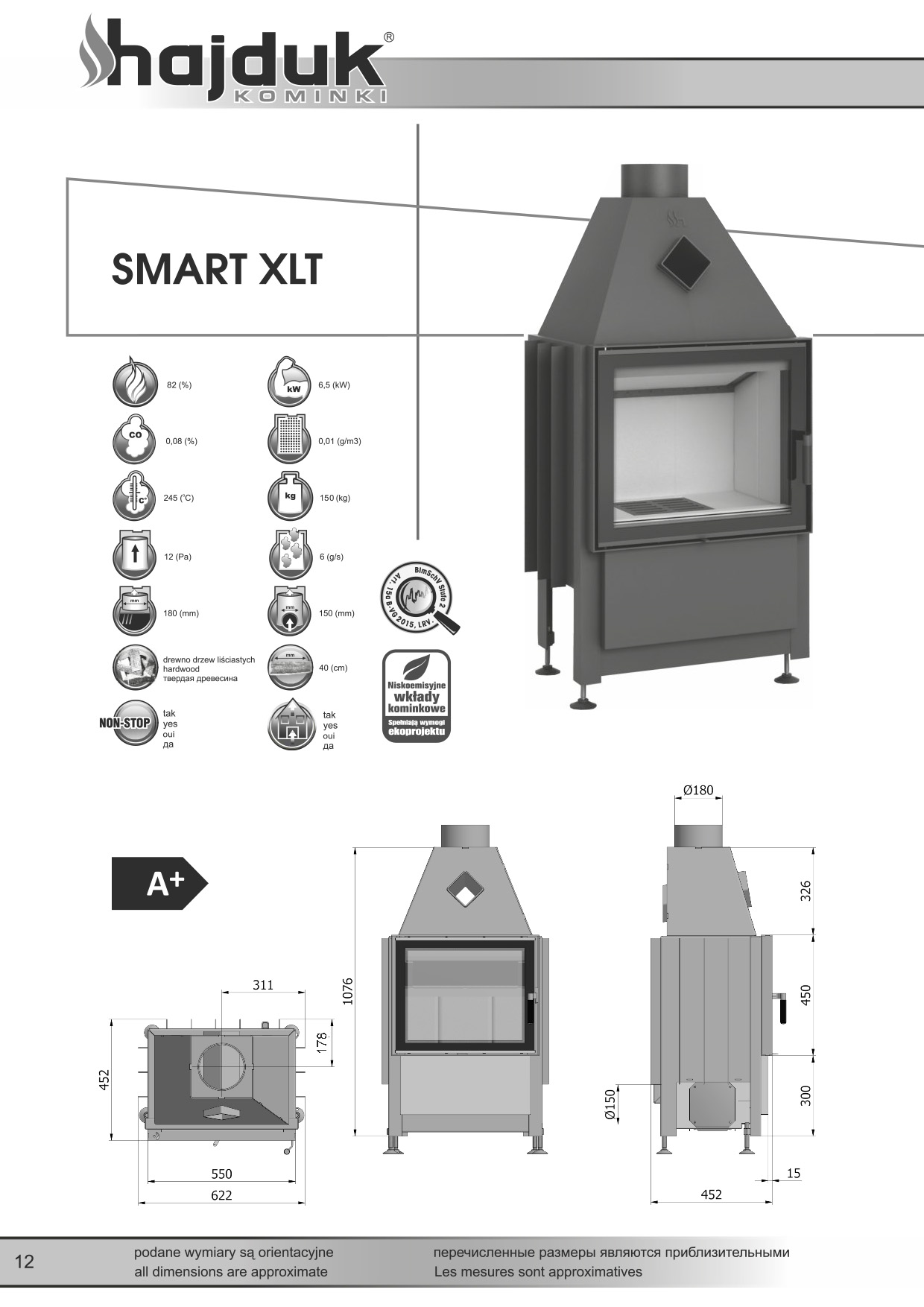 Smart%20XLT%20 %20karta%20techniczna - Fireplace insert Hajduk Smart XLT - frameless door