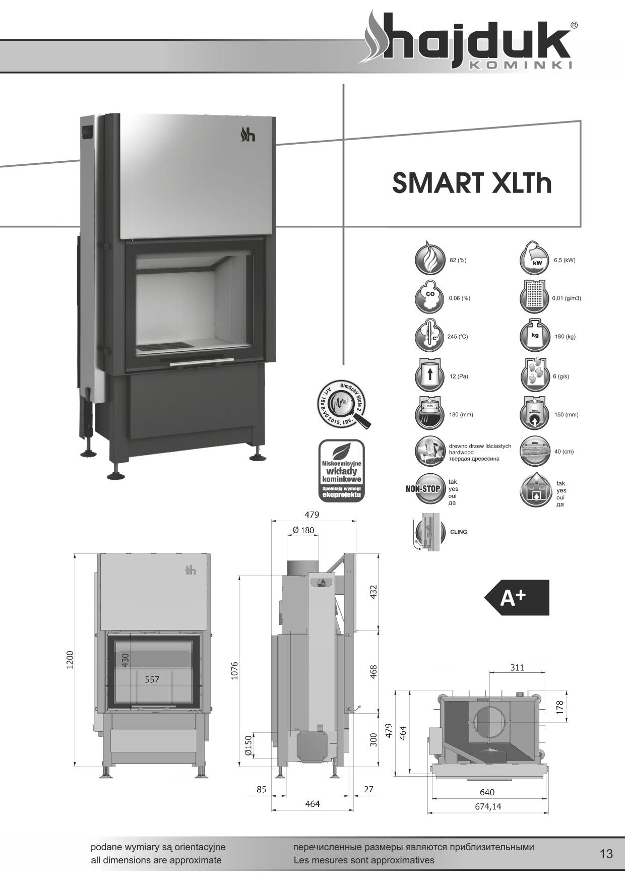 Smart%20XLTh%20 %20karta%20techniczna - Fireplace insert Hajduk Smart XLTh - frameless door