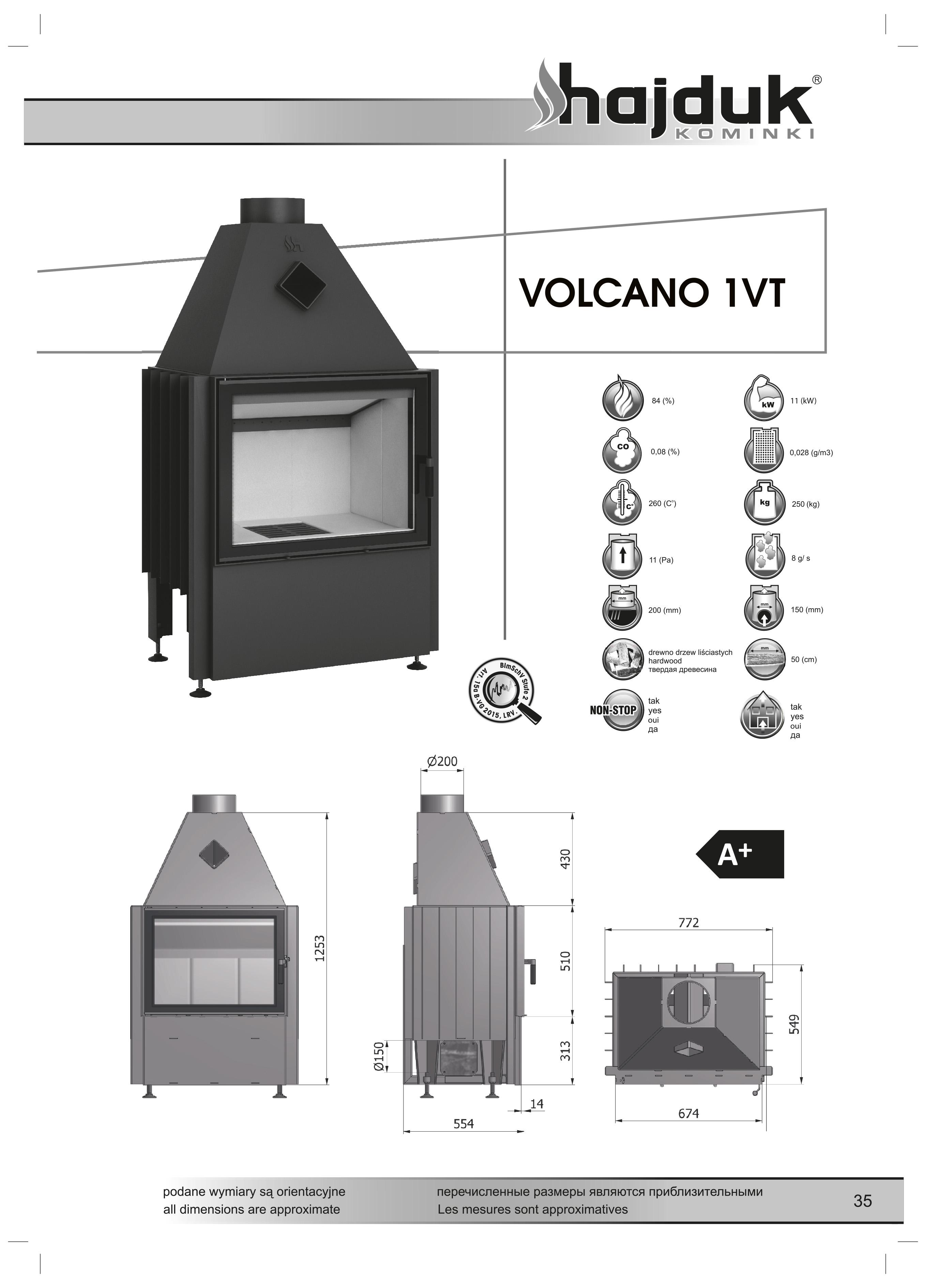 Volcano%201VT%20 %20karta%20techniczna - Wkład kominkowy Hajduk Volcano 1VT - drzwiczki bezramowe