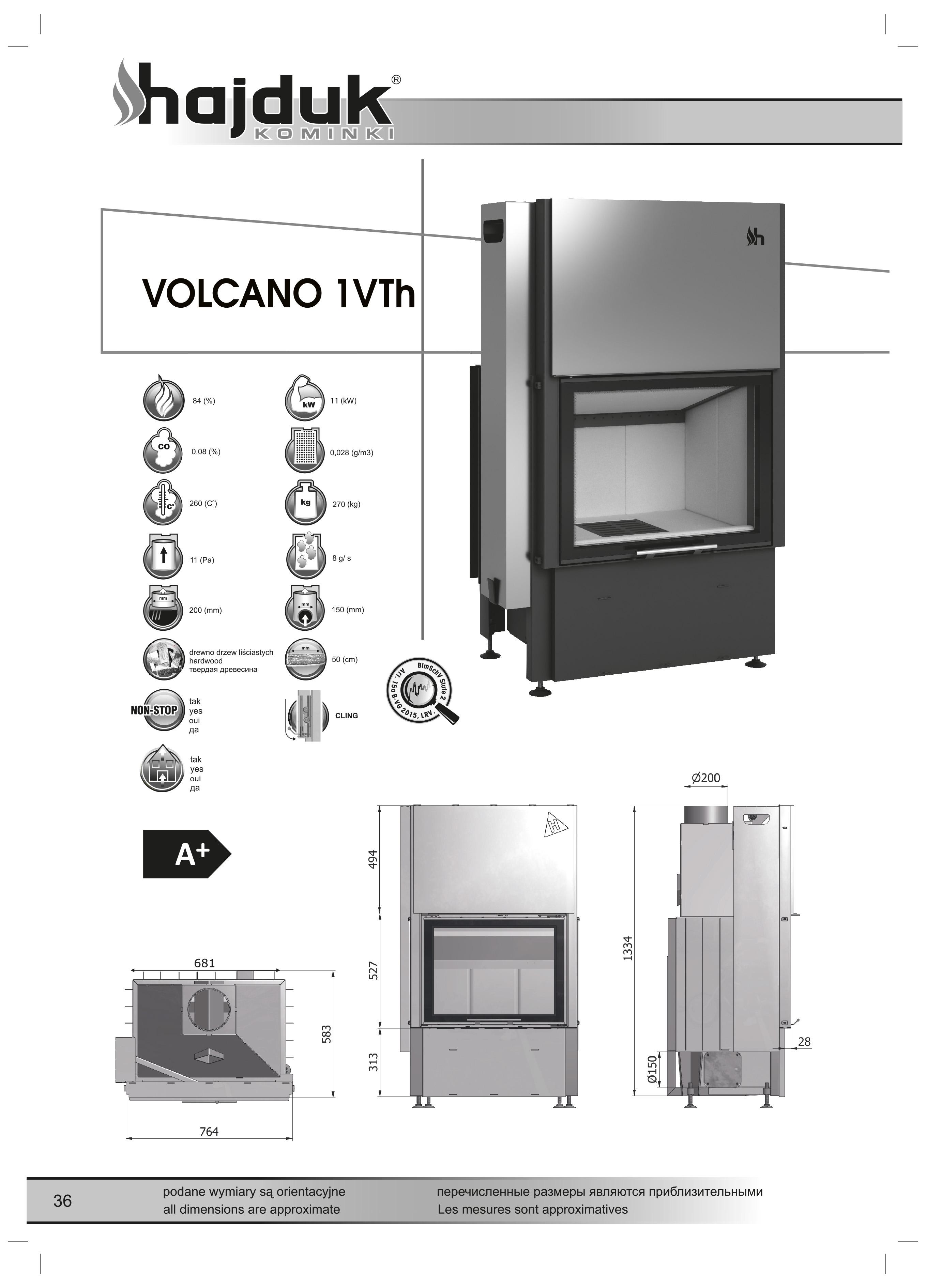 Volcano%201VTh%20 %20karta%20techniczna - Fireplace insert Hajduk Volcano 1VTh - frameless door
