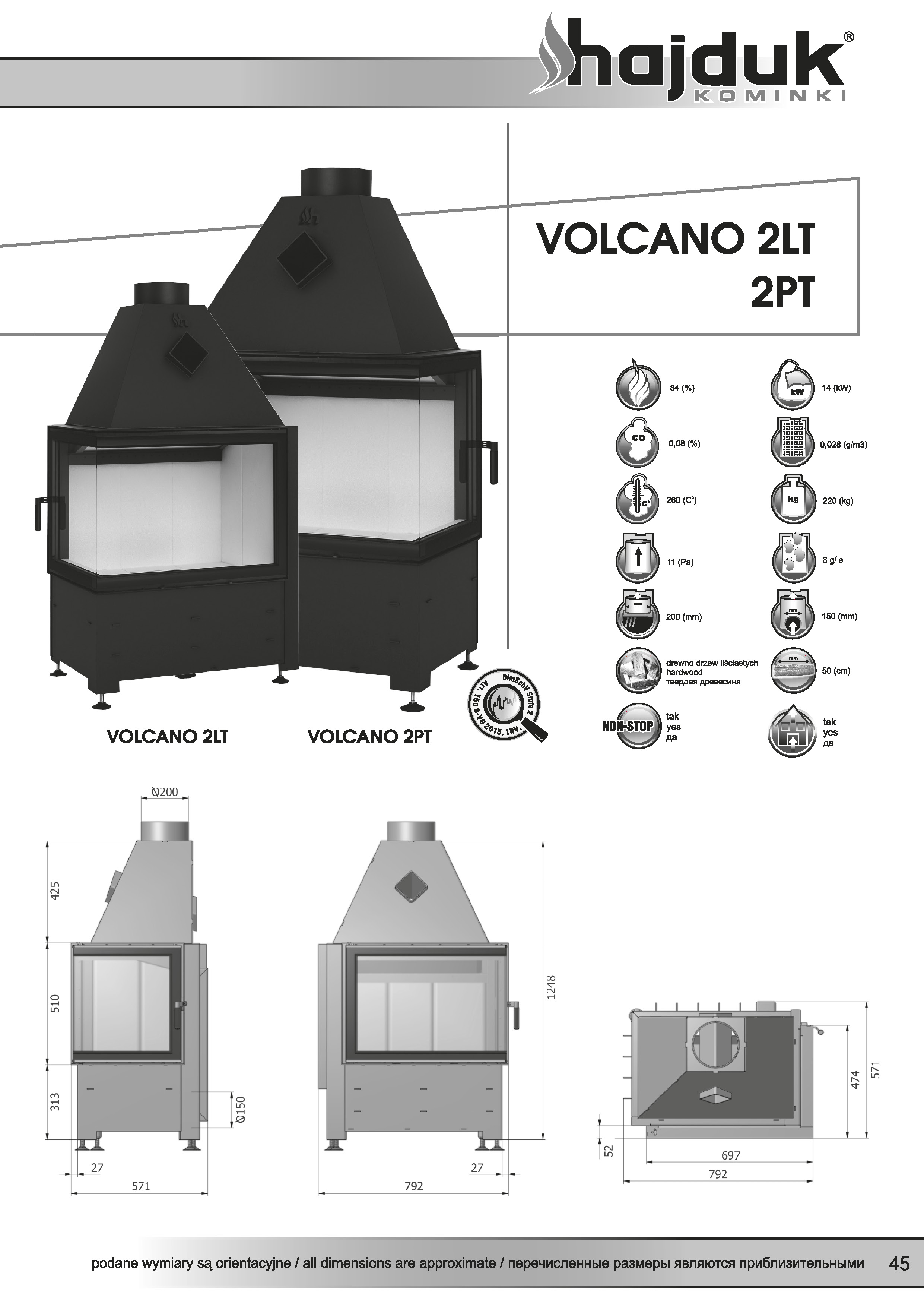 Volcano%202LT%202PT%20 %20karta%20techniczna - Wkład kominkowy Hajduk Volcano 2LT  - drzwiczki bezramowe