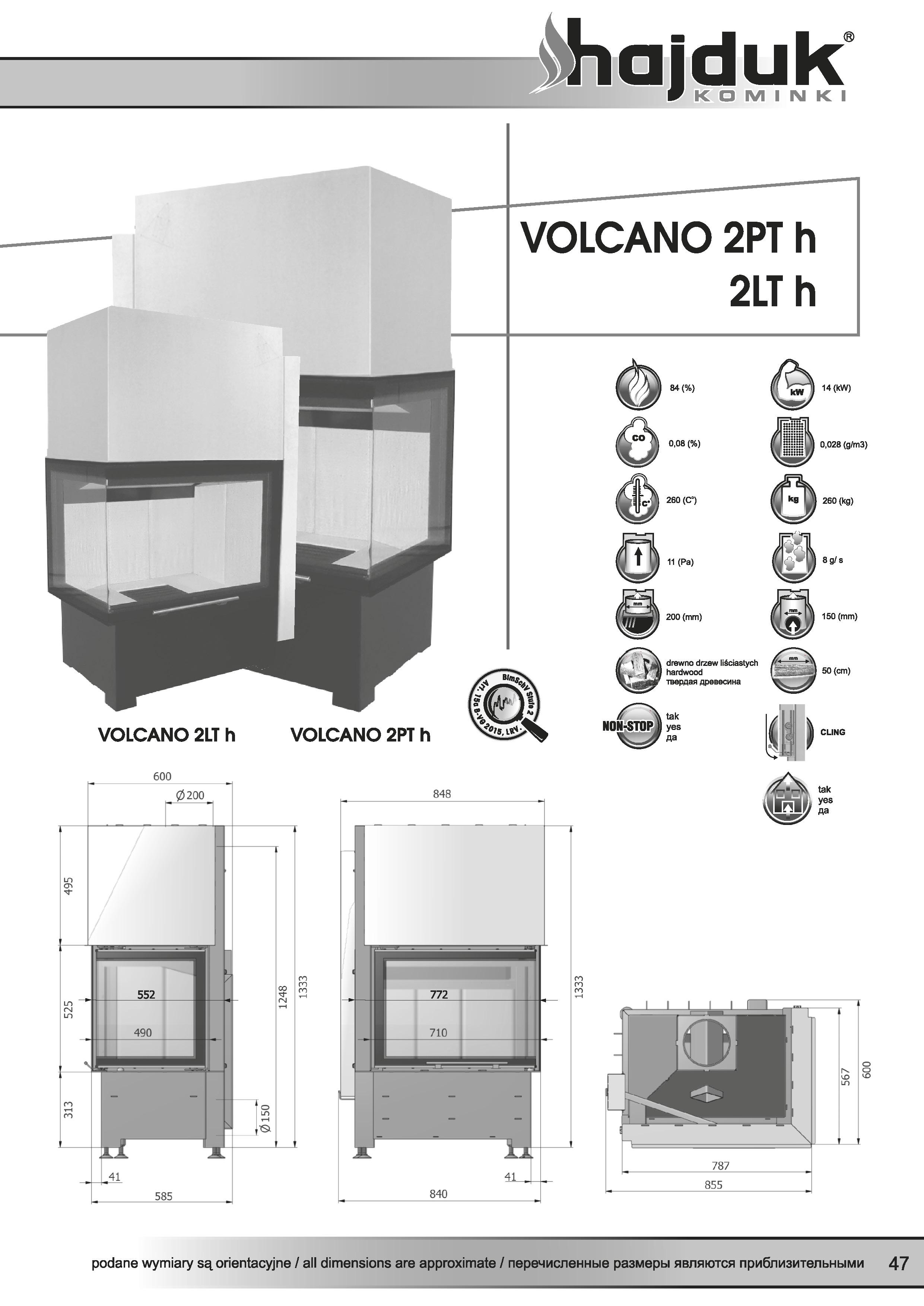 Volcano%202PTh%202LTh%20 %20karta%20techniczna - Wkład kominkowy Hajduk Volcano 2PTh - drzwiczki bezramowe szyba jednolita