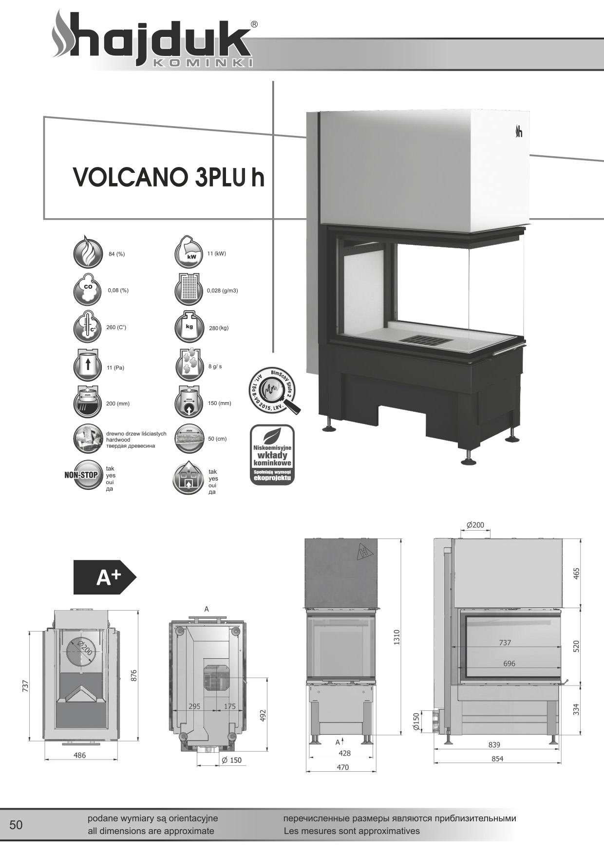 Volcano%203PLUh%20 %20karta%20techniczna - Wkład kominkowy Hajduk Volcano 3PLUh