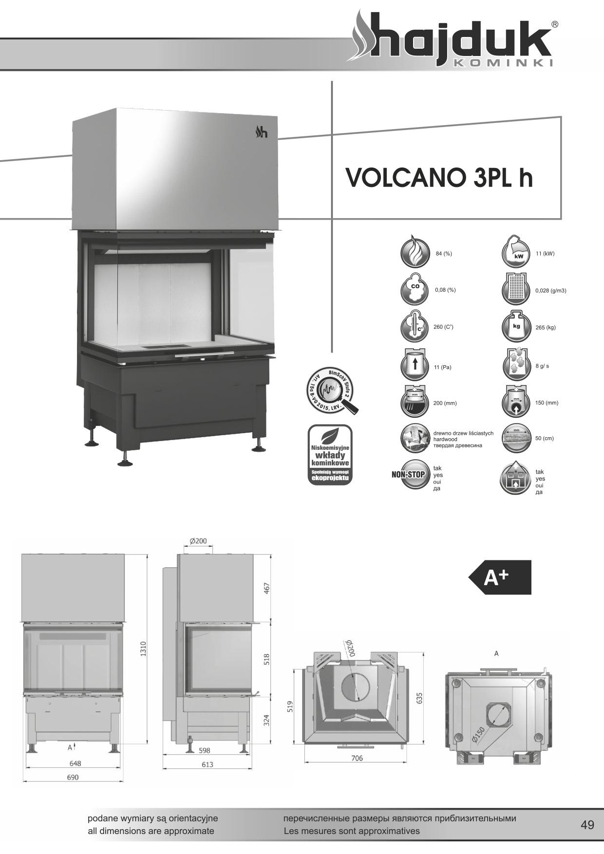 Volcano%203PLh%20 %20karta%20techniczna - Wkład kominkowy Hajduk Volcano 3PLh