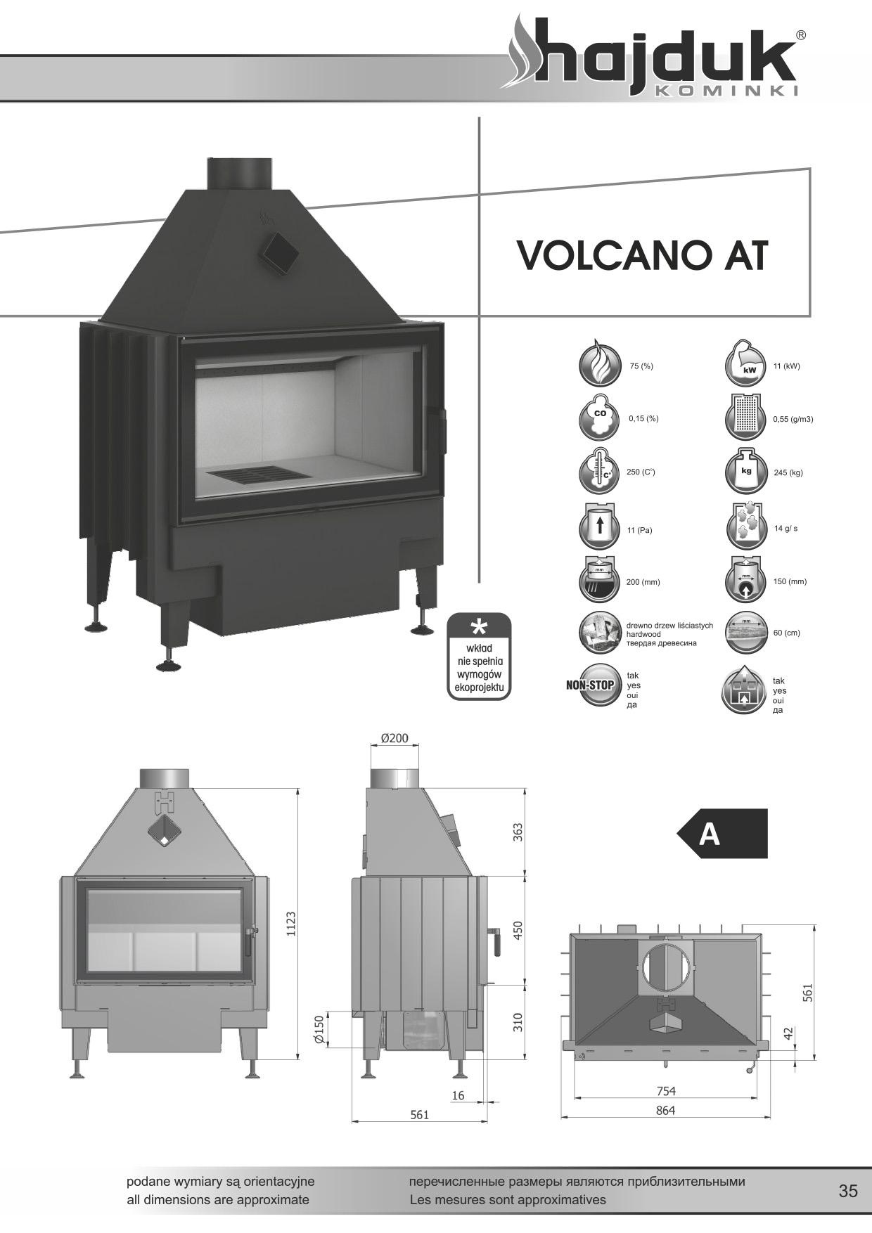 Wkład kominkowy Hajduk VOLCANO AT 11 kW