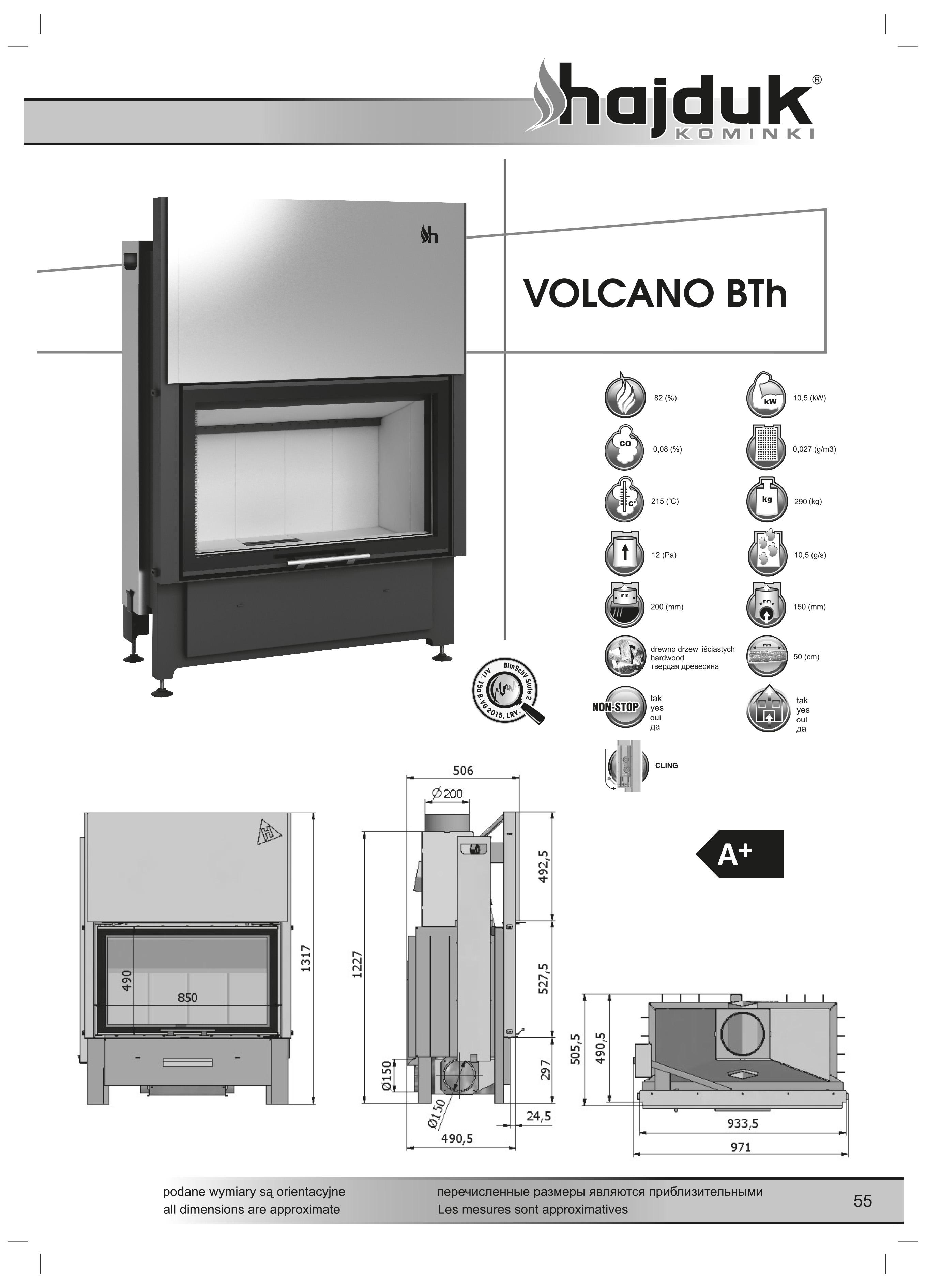 Volcano%20BTh%20 %20karta%20techniczna - Wkład kominkowy Hajduk Volcano BTh - drzwiczki bezramowe