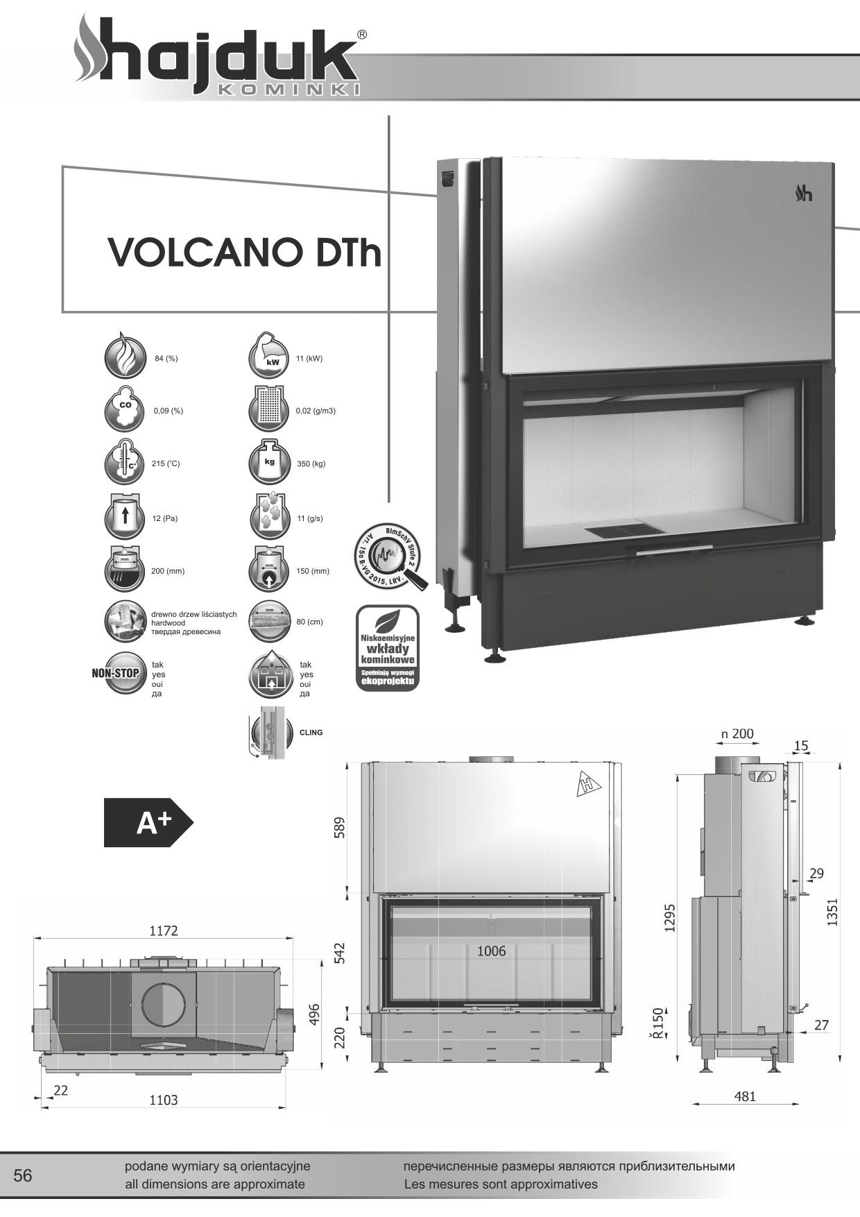 Volcano%20DTh%20 %20karta%20techniczna - Fireplace insert Hajduk Volcano DTh - frameless door