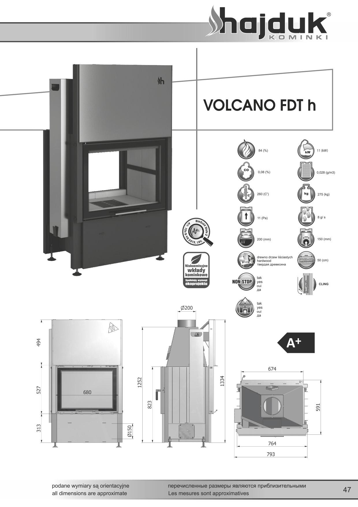 Volcano%20FDTh%20 %20karta%20techniczna - Fireplace insert Hajduk Volcano FDTh  - frameless door