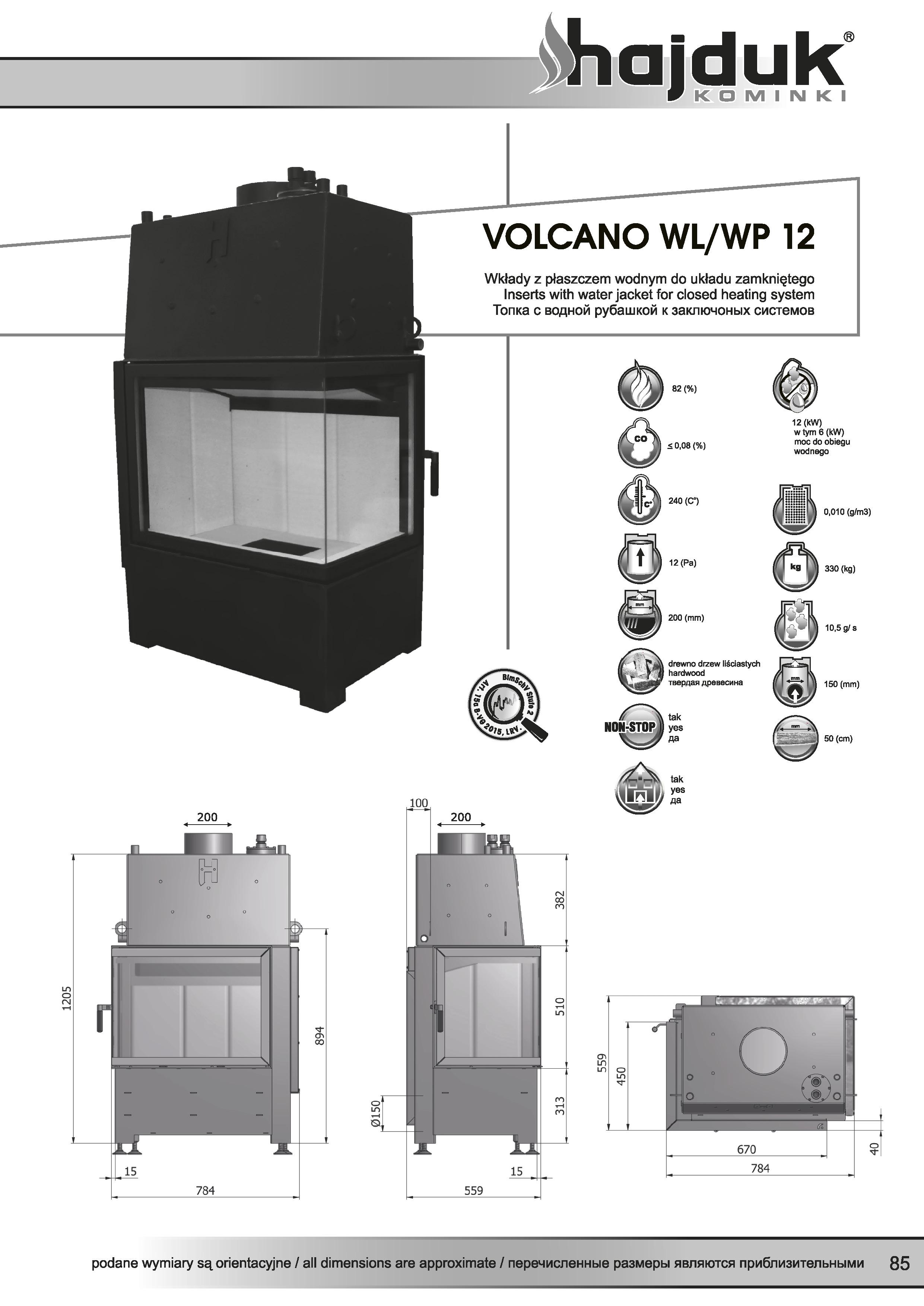 Volcano%20WL%20WP%20 %2012%20 %20karta%20techniczna - Fireplace insert Hajduk Volcano WP 12