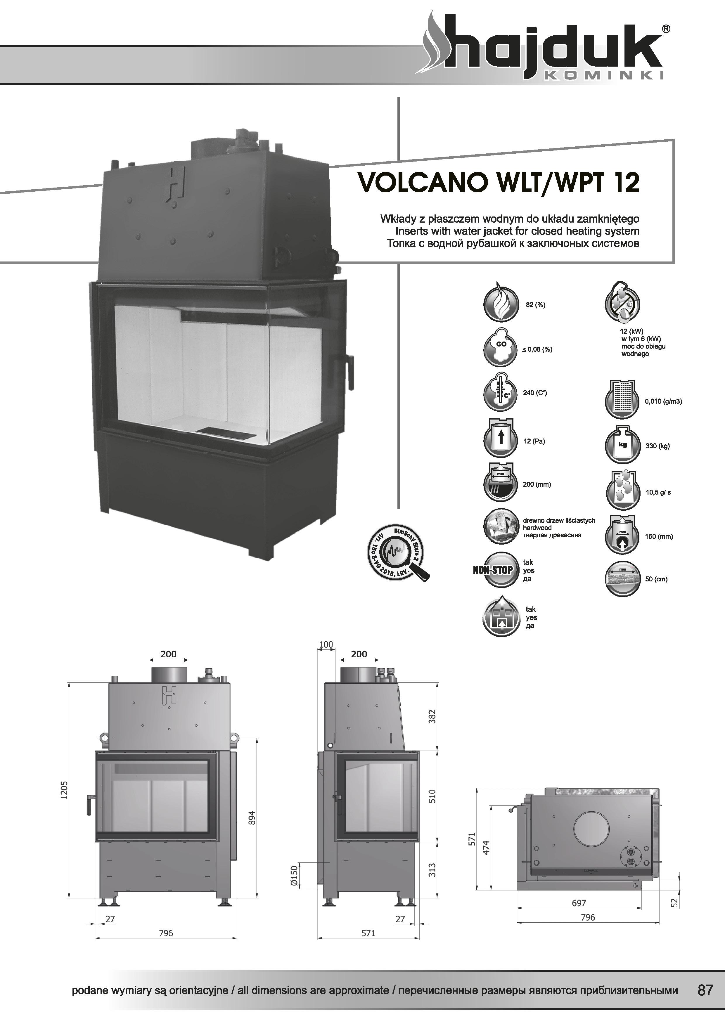 Volcano%20WLT%20WPT%20 %2012%20 %20karta%20techniczna - Wkład kominkowy Hajduk  Volcano WPT 12