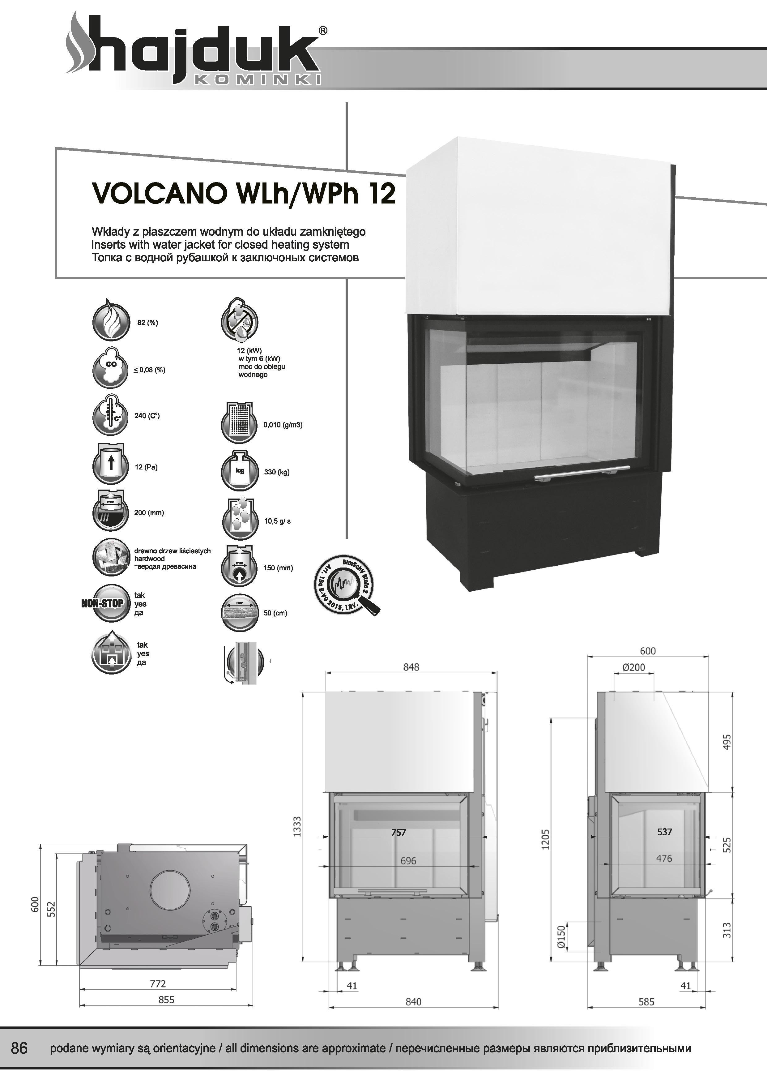 Volcano%20WLh%20WPh%20 %2012%20 %20karta%20techniczna - Kamineinsatz Hajduk Volcano WLh-12