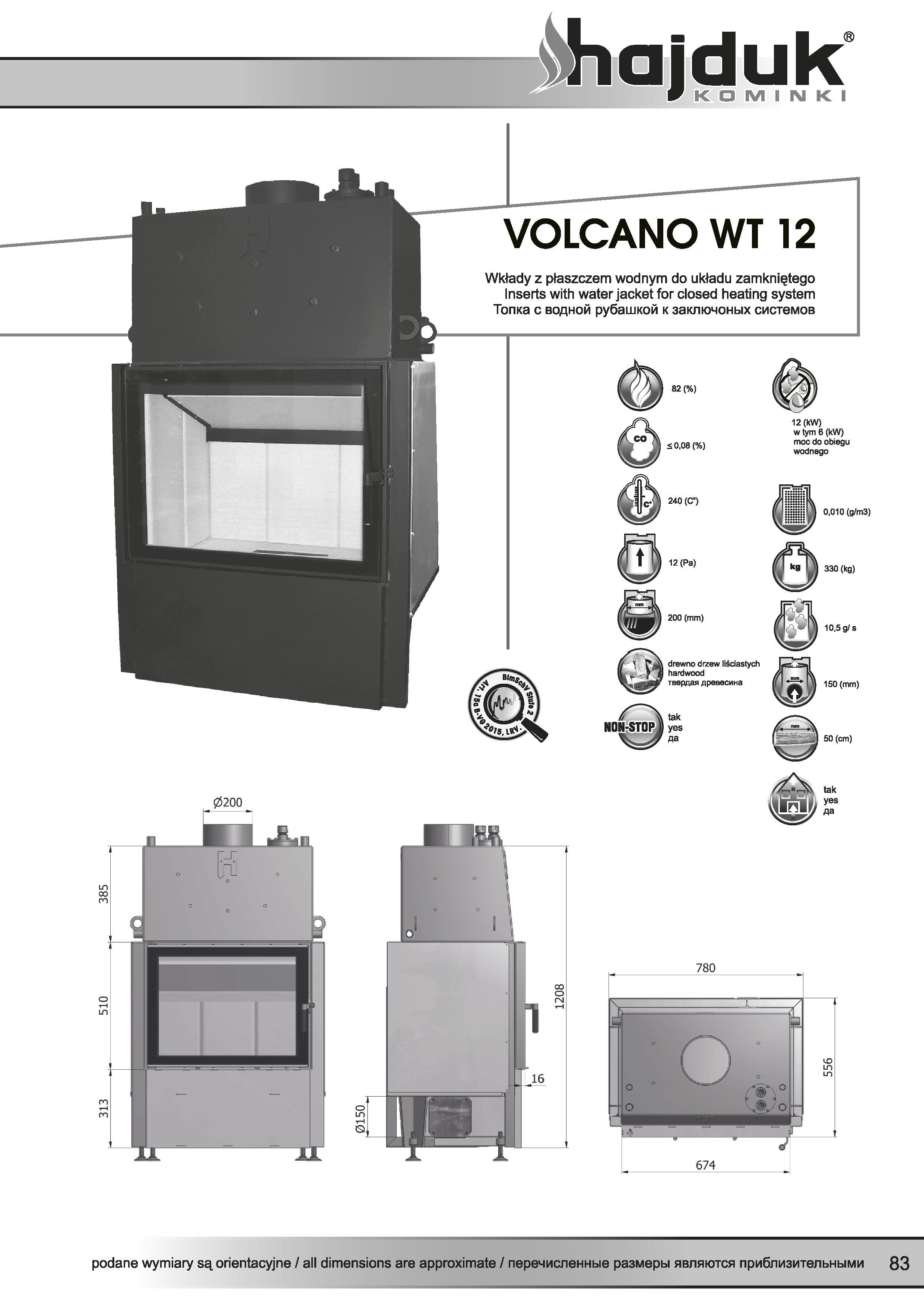 Volcano%20WT 12%20 %20karta%20techniczna - Wkład kominkowy Hajduk  Volcano WT 12