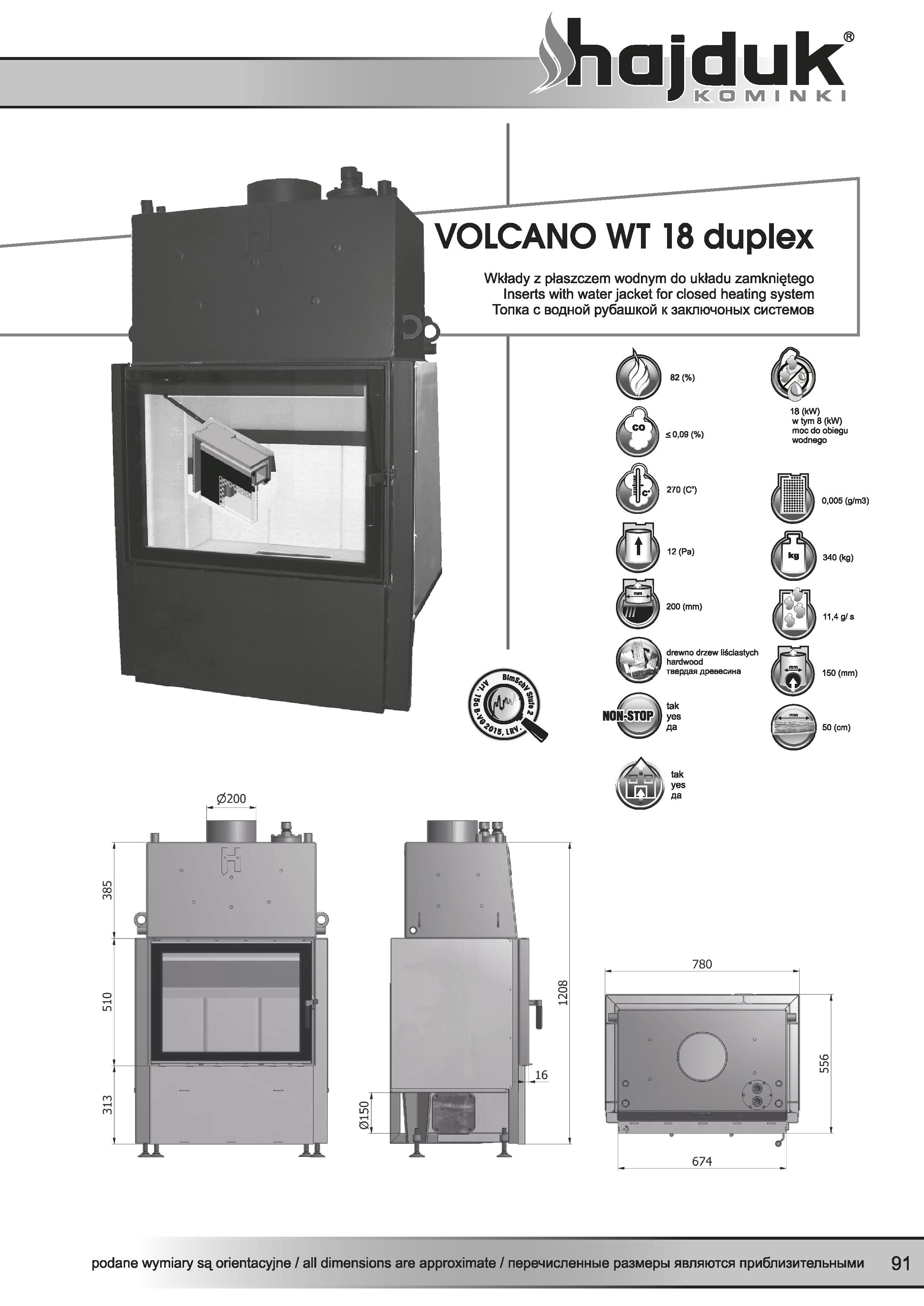 Volcano%20WT 18%20duplex%20 %20karta%20techniczna - Fireplace insert Hajduk Volcano WT 18